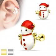 Piercing cartilage oreille bonhomme de neige à écharpe et bonnet rouge