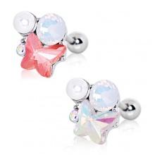 Piercing cartilage tragus helix à papillon perle et pierres