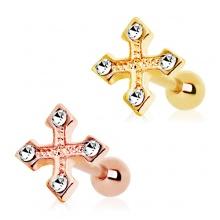 Piercing cartilage tragus hélix plaqué or à croix tréflée