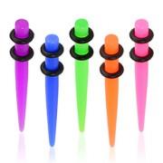 Piercing écarteur acrylique teinté fluo type tapers