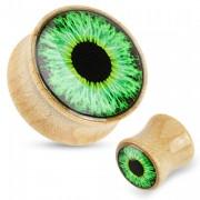 Piercing écarteur en bois type plug avec oeil vert