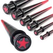 Piercing écarteur noir avec étoile rouge type tapers