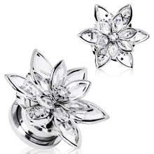 Piercing écarteur plug en acier à fleur de cristal