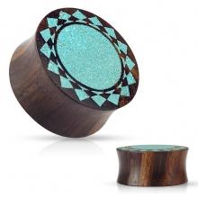 Piercing écarteur plug en bois de sono marron à soleil tribal turquoise
