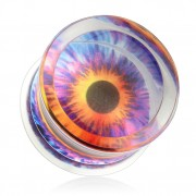 Piercing écarteur plug transparent avec oeil démoniaque