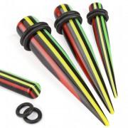 Piercing écarteur strié noir, rouge, jaune, vert type tapers