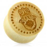 Piercing écarteur type plug en bois beige avec Hamsa / main Fatima
