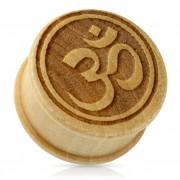 Piercing écarteur type plug en bois beige avec symbole Ohm