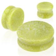 Piercing écarteur type plug en pierre Jade citron