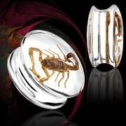 Piercing écarteur type plug en résine renfermant un scorpion