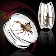 Piercing écarteur type plug en résine renfermant une araignée