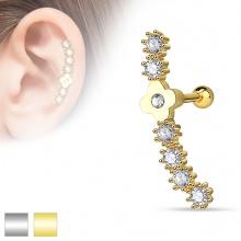Piercing hélix / cartilage à fleur et arc avec strass