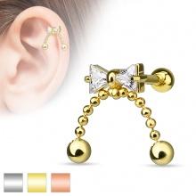 Piercing hélix / cartilage à noeud papillon avec chainettes