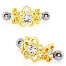 Piercing helix à couronne de fleurs dorées serties