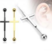 Piercing industriel avec croix catholique