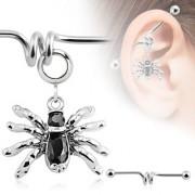Piercing industriel avec pendentif araignée noire