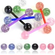 Piercing langue avec boules à paillettes