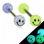 Piercing langue boules fluo smiley