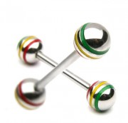 Piercing langue Rasta Jamaican Stripe Ball