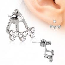 Piercing lobe oreille en acier style trident avec trio de strass