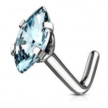 Piercing nez acier tige L à zirconium taillé en marquise - Bleu aqua