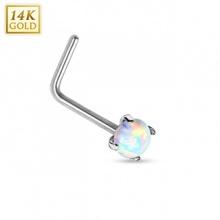 """Piercing nez en or blanc 14 carats avec Opale de synthèse et tige en """"L"""""""