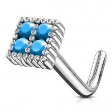 Piercing nez tige L à carré serti de pierres bleues
