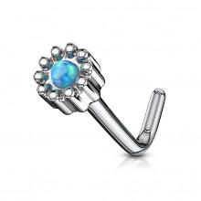 Piercing nez tige L à fleur abstraite sertie d'une Opale verte