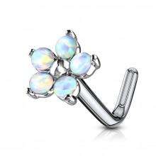 Piercing nez tige L fleur à pétales d'opale - blanc