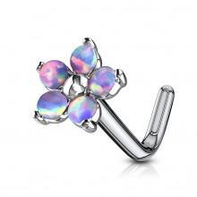 Piercing nez tige L fleur à pétales d'opale - violet