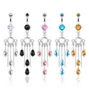 Piercing nombril à anneaux et chaines symétriques perlées