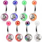 Piercing nombril à boules en acrylique teinte métalisée