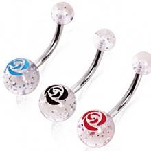 Piercing nombril à boules pailletées avec rose imprimée