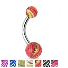 Piercing nombril à boules plaquées IP marbrées à aspect nacré