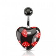 Piercing nombril à champignons rouges et blancs sur coeur noir