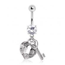 Piercing nombril à clé et cadenas coeur