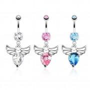 Piercing nombril à coeur de pierre avec ailes d'ange