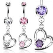 Piercing nombril à coeur design serti et mini coeur