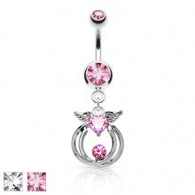 Piercing nombril à coeur strass ailé et anneaux suspendus