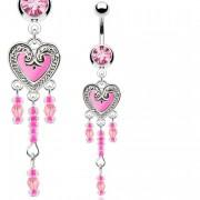 Piercing nombril à coeur vintage rose en epoxy avec perles