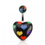 Piercing nombril à coeurs multicolores sur coeur noir
