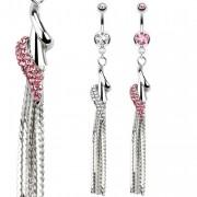 Piercing nombril à cône avec spirale et chaines