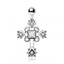 Piercing nombril à croix avec losanges et boucles