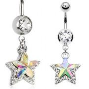 Piercing nombril à double étoile iridescente et pavé de pierres