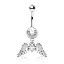 Piercing nombril à élégantes ailes d'ange