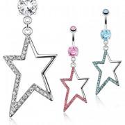 Piercing nombril à étoile style star pavée de pierres