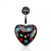 Piercing nombril à étoiles multicolores sur coeur noir