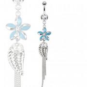Piercing nombril à fleur bleue, feuille et chaines