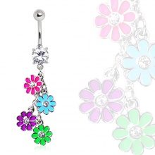 Piercing nombril à fleurs suspendues style flower power
