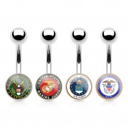 Piercing nombril à logo armée américaine